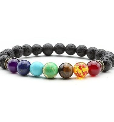 7 Chakra Lava Stone Essential Oils Diffuser Bracelet Jewelry