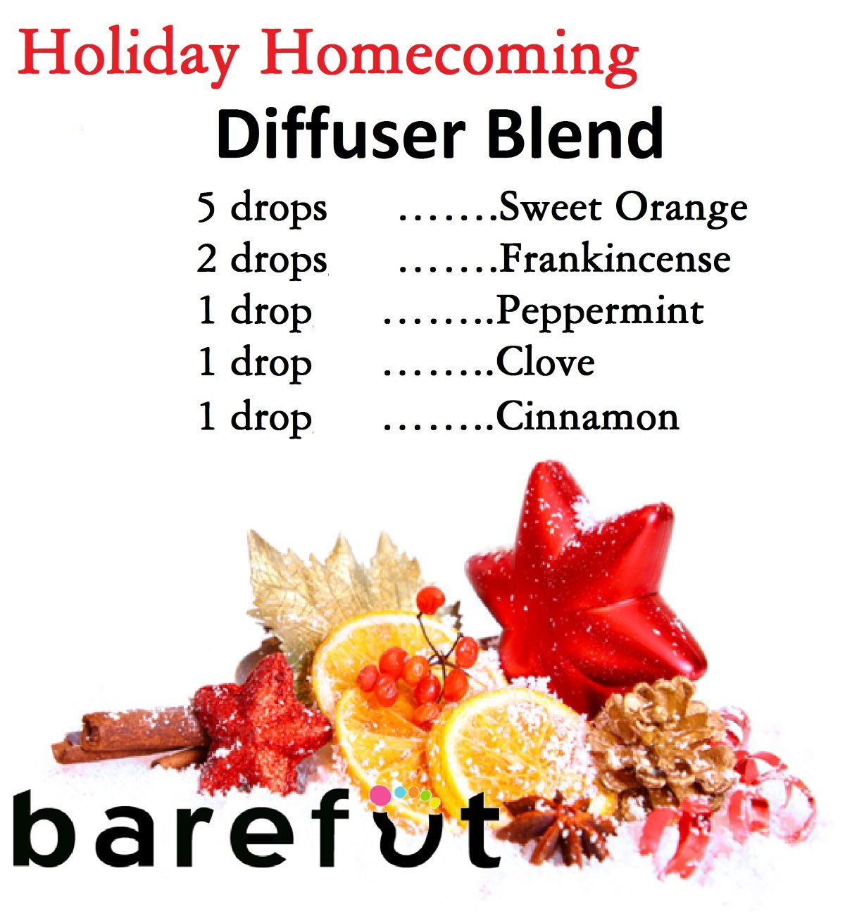 Christmas Holiday Essential Oil Diffuser Blend Recipe