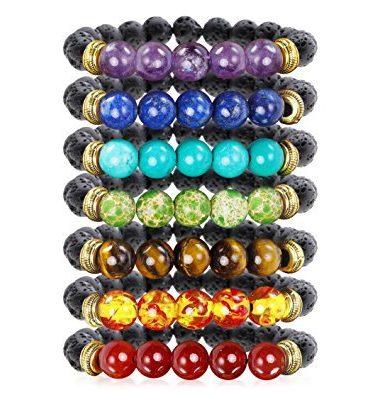 Chakra Lava Stone Essential Oil Diffuser Bracelets